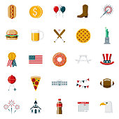 Flat Design USA Icon Set