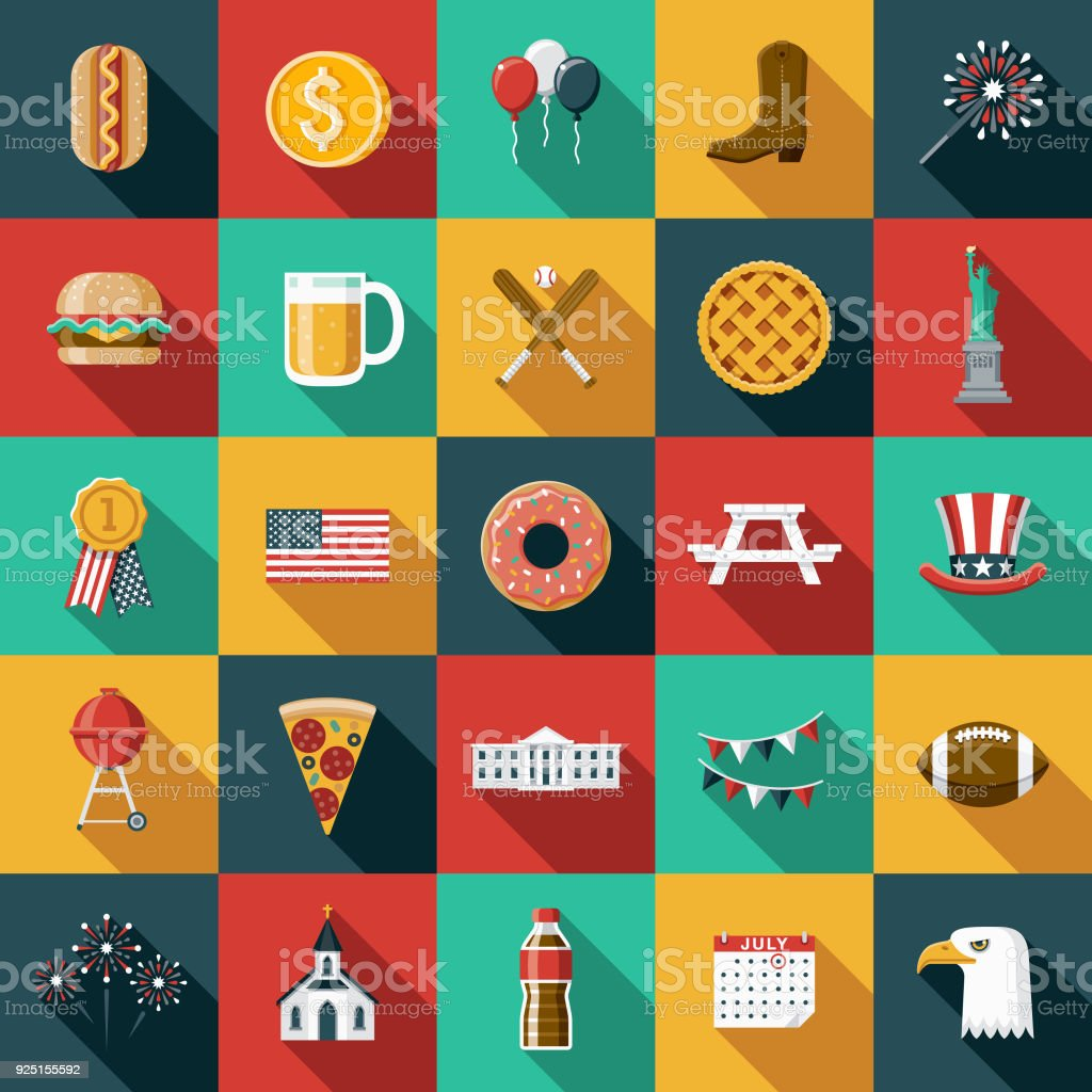 Flat Design USA Icon Set with Side Shadow