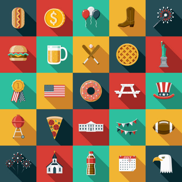 Flat Design USA Icon Set with Side Shadow vector art illustration