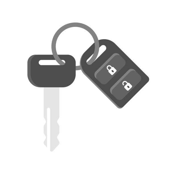 flat design vector, car key with remote flat design vector, car key with remote car key stock illustrations