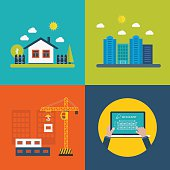 Flat design vector concept illustration with icons of building construction