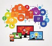 Flat design vector concept network marketing