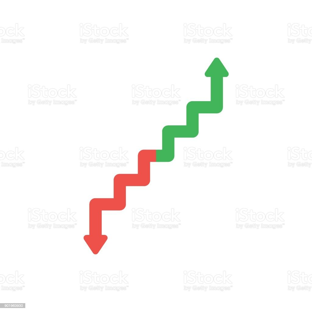 Flat design vector concept of arrow stairs moving up and down vector art illustration