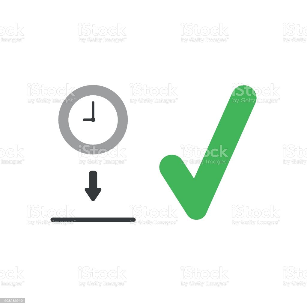 Flat Design Vector Concept Of Clock Into Moneybox Hole With Check