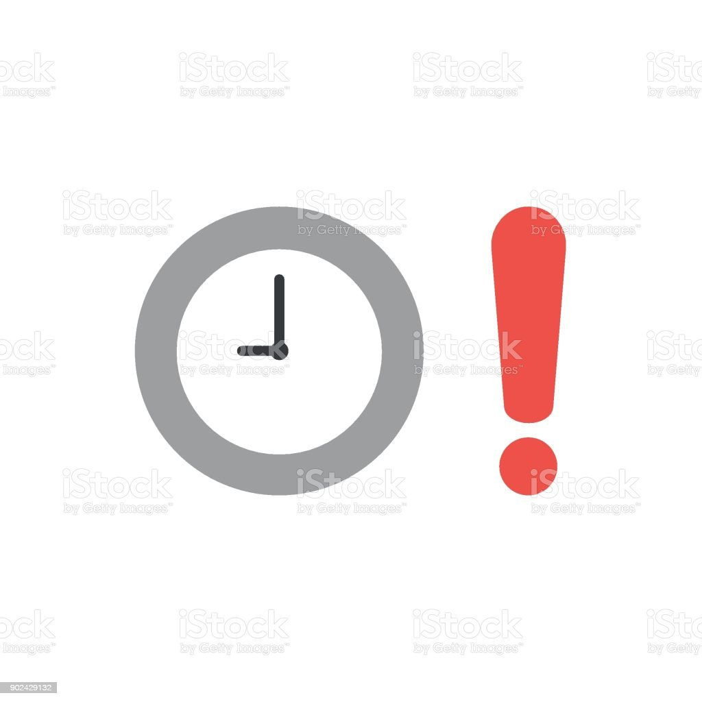 Flat design vector concept of clock time with exclamation mark vector art illustration