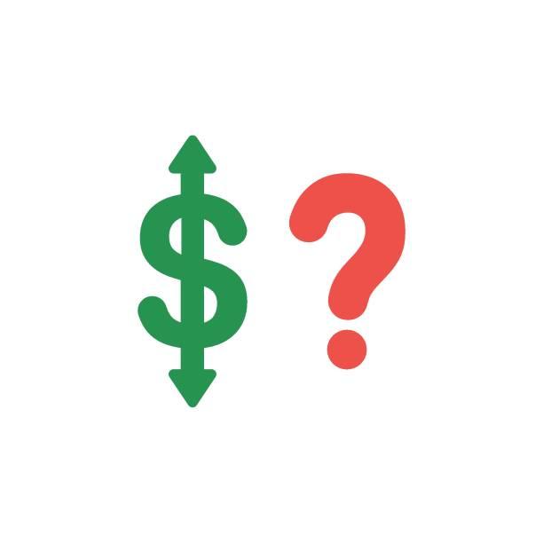 Flaches Design Vektor Konzept der Dollar Pfeil rauf und runter mit Fragezeichen – Vektorgrafik