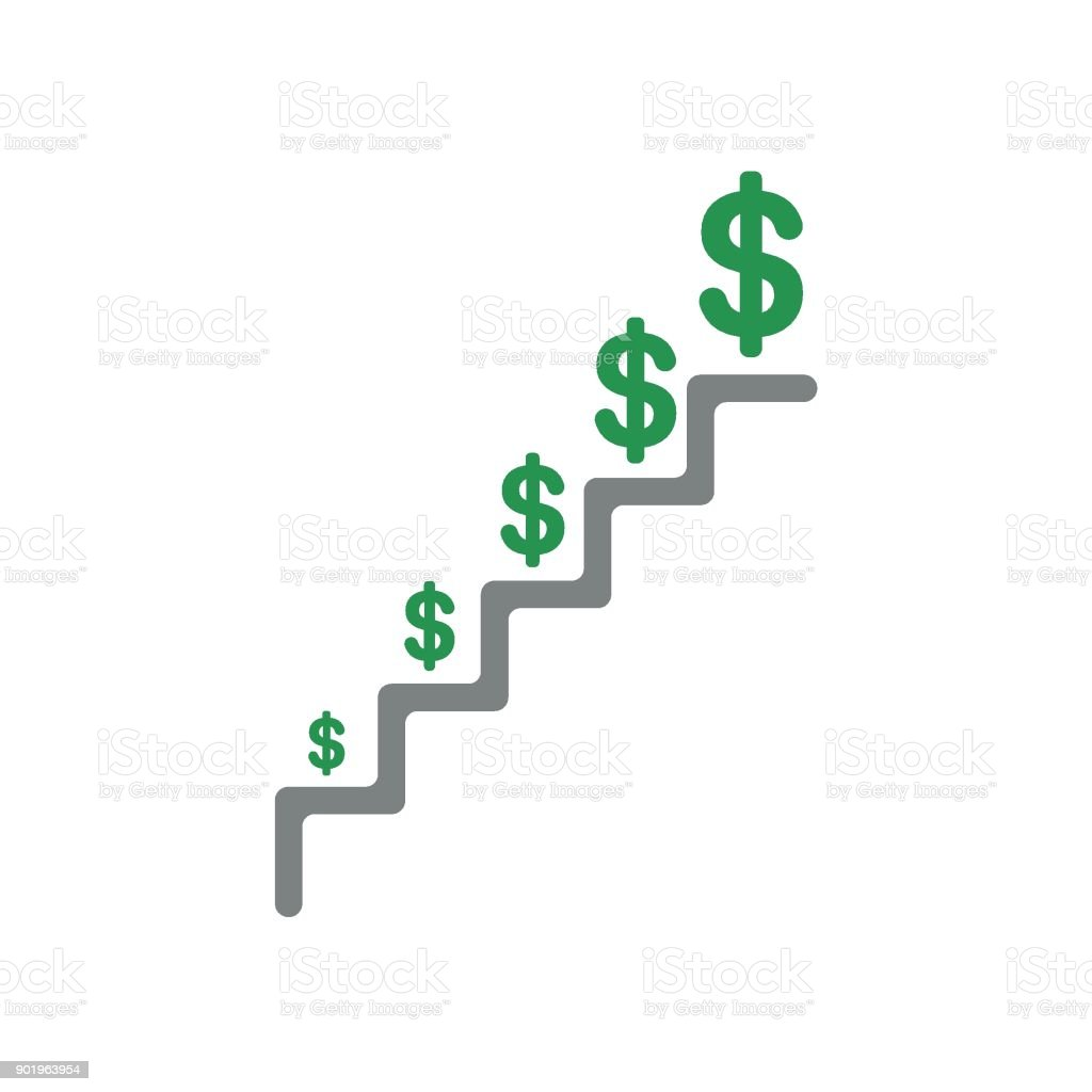 Flat design vector concept of dollar growing on stairs vector art illustration