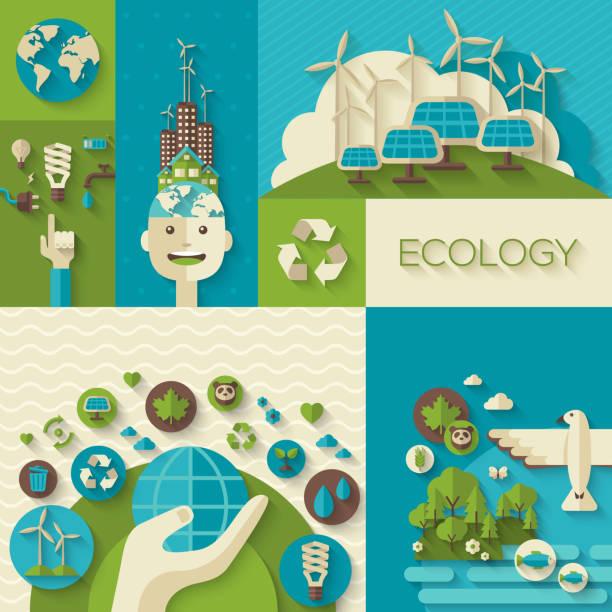 плоский дизайн вектор концепции экологии, окружающей среды и зеленой энергии - ущерб окружающей среде stock illustrations