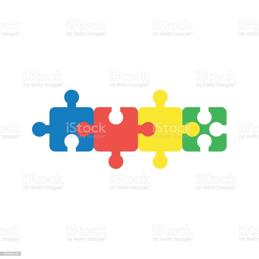 Flat design vector concept of four part jigsaw puzzle pieces connected to each other vector art illustration