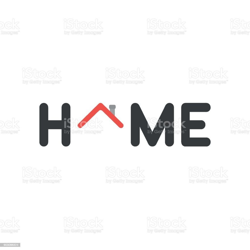 Flat design vector concept of home word with red house roof vector art illustration