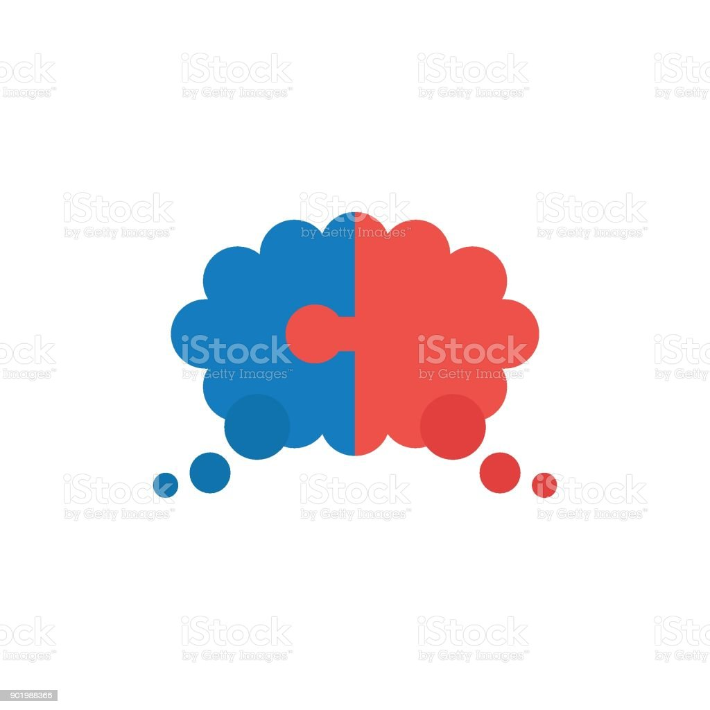 Flat design vector concept of two pieces puzzle thought bubble vector art illustration