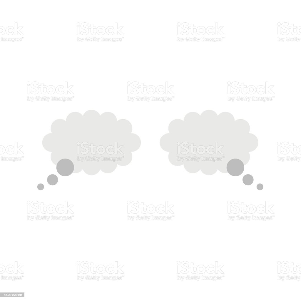 Flat design vector concept of two thought bubbles vector art illustration