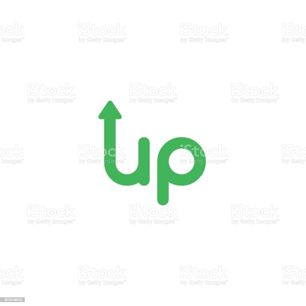 Flat Design Vector Concept Of Up Word With Arrow Moving Up Stock