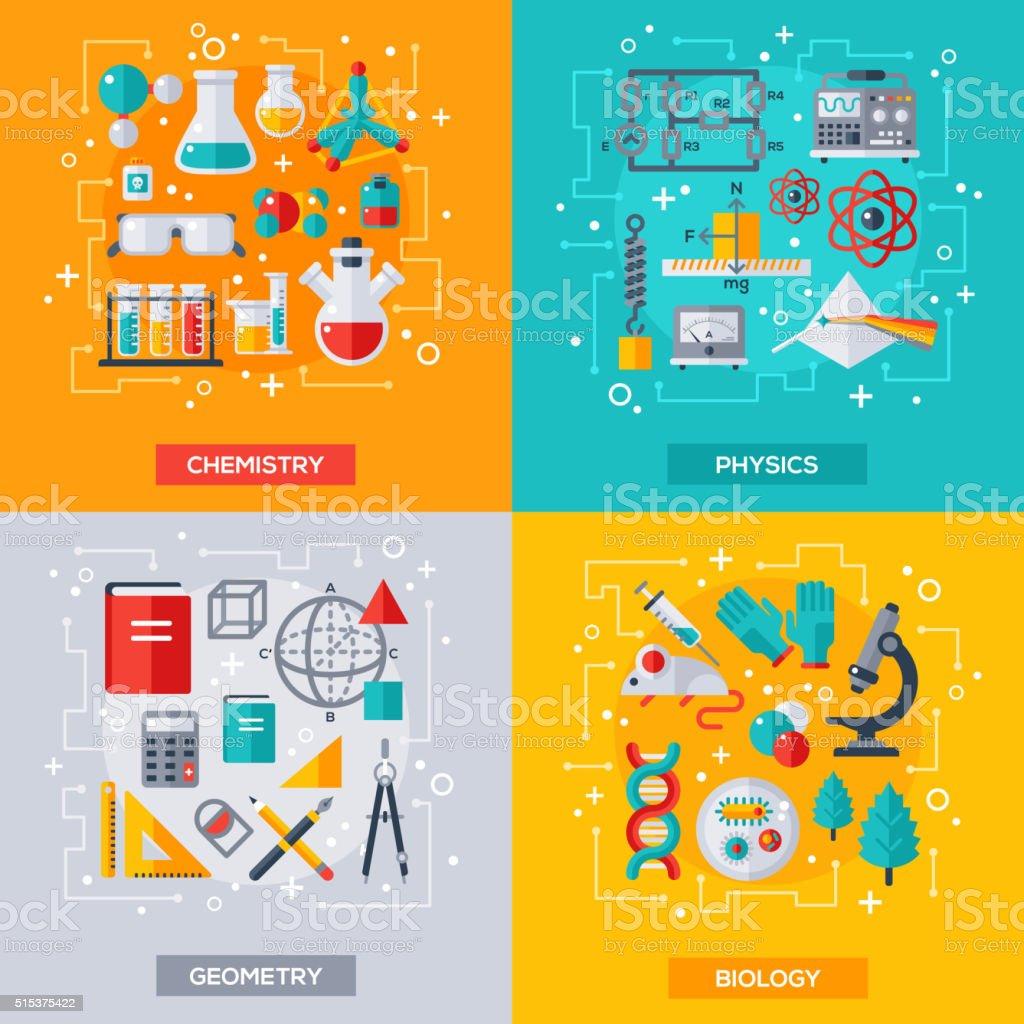 projeto do vetor plana, conceitos de ciência e da educação - ilustração de arte em vetor