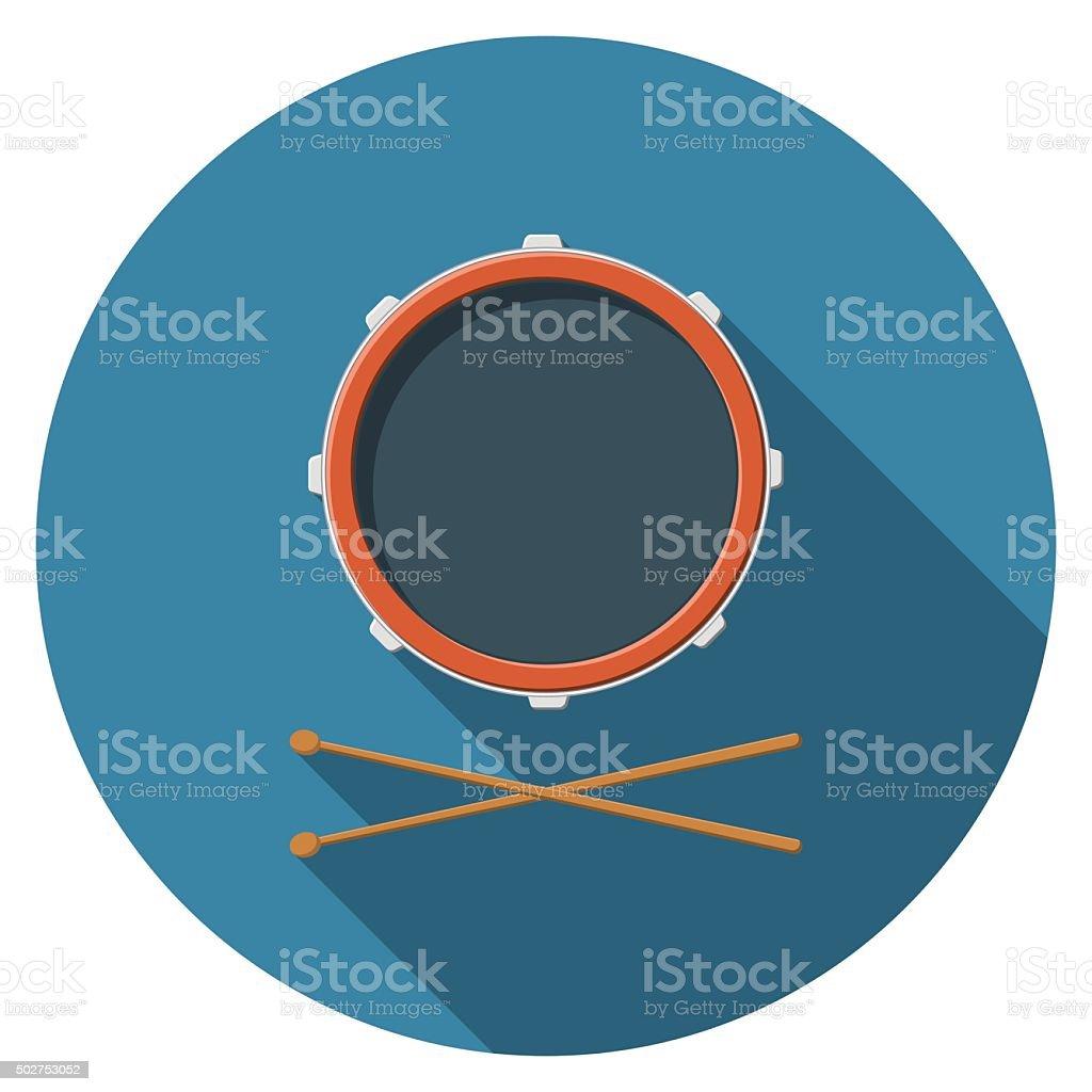 Plat conception illustration vectorielle de tambour et les manchons long ombre icône, isolé - Illustration vectorielle