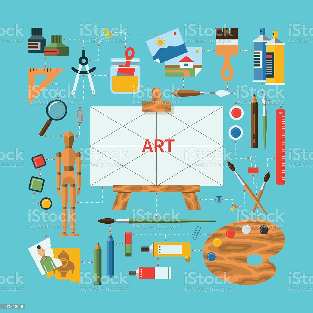 Flat design vector fine art concept vector art illustration