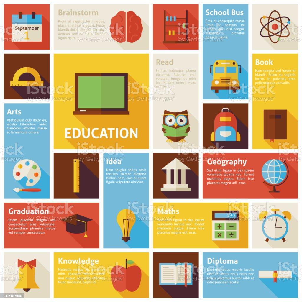 Ícones do vetor plana de Design infográfico conceito de educação - ilustração de arte em vetor