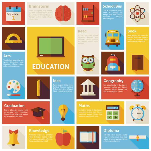 フラットデザインベクトル教育概念アイコンのインフォグラフィック - 理科の授業点のイラスト素材/クリップアート素材/マンガ素材/アイコン素材