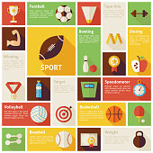 Flat Design Vector Icons Infographic Sport Recreation Competition
