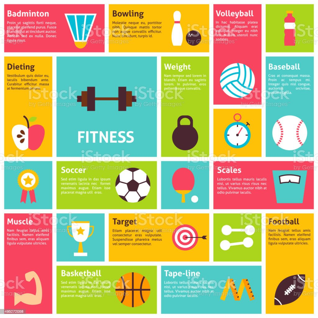Flat Design Vector Icons Infographic Sport Recreation Fitness Concept vector art illustration