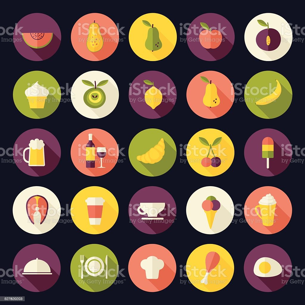 Flat design vector icons set for food and drinks with shadows