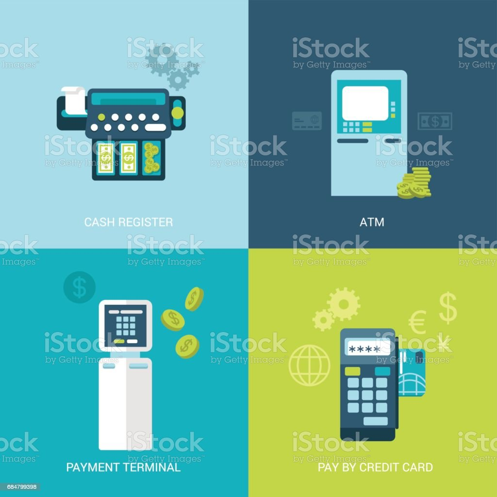 Flat design vector illustration concept bank finance electronic devices. Cash register, ATM, payment terminal, mobile payout. Big flat objects icons collection. vector art illustration
