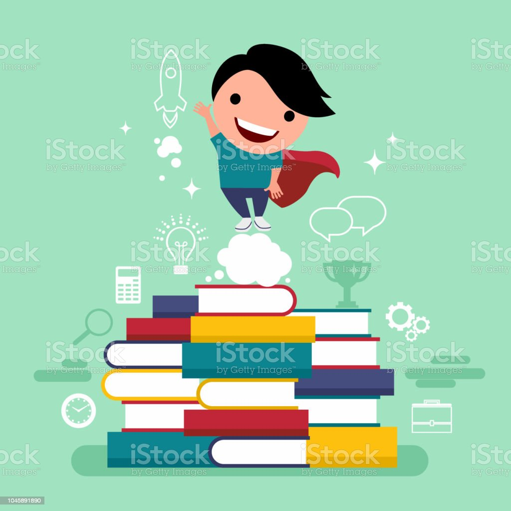 Flat design vector illustration concept of value education, knowledge, steps for successful careers, personal development vector art illustration