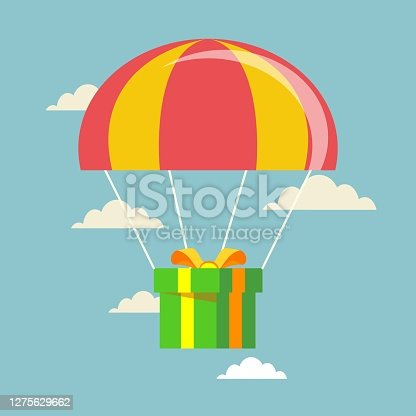 istock Flat design. Vector illustration. Delivery service. Parachute with parcel, gift in the sky 1275629662