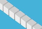 Flat design vector illustration of 3D boxes or blocks. Concept for blockchain technology