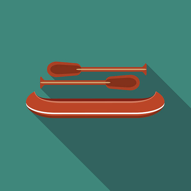 illustrations, cliparts, dessins animés et icônes de flat design vector illustration of canoe icon, with long shadow - pédalo