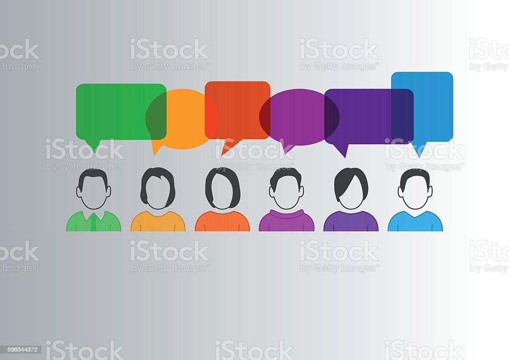 Flat design vector illustration of communication between different people Lizenzfreies flat design vector illustration of communication between different people stock vektor art und mehr bilder von bildhintergrund