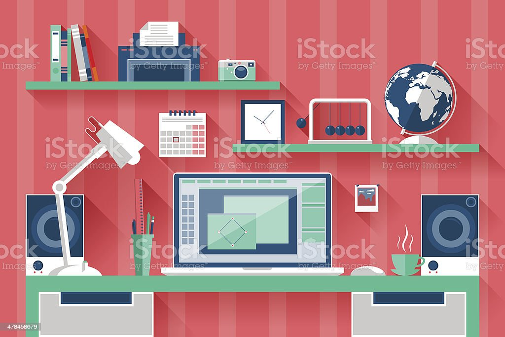 Flat design vector illustration of modern creative office royalty-free flat design vector illustration of modern creative office stock vector art & more images of abstract
