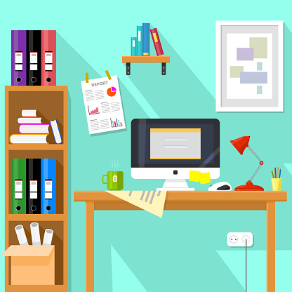 Flat design vector illustration of modern creative office workspace with computer and folders.