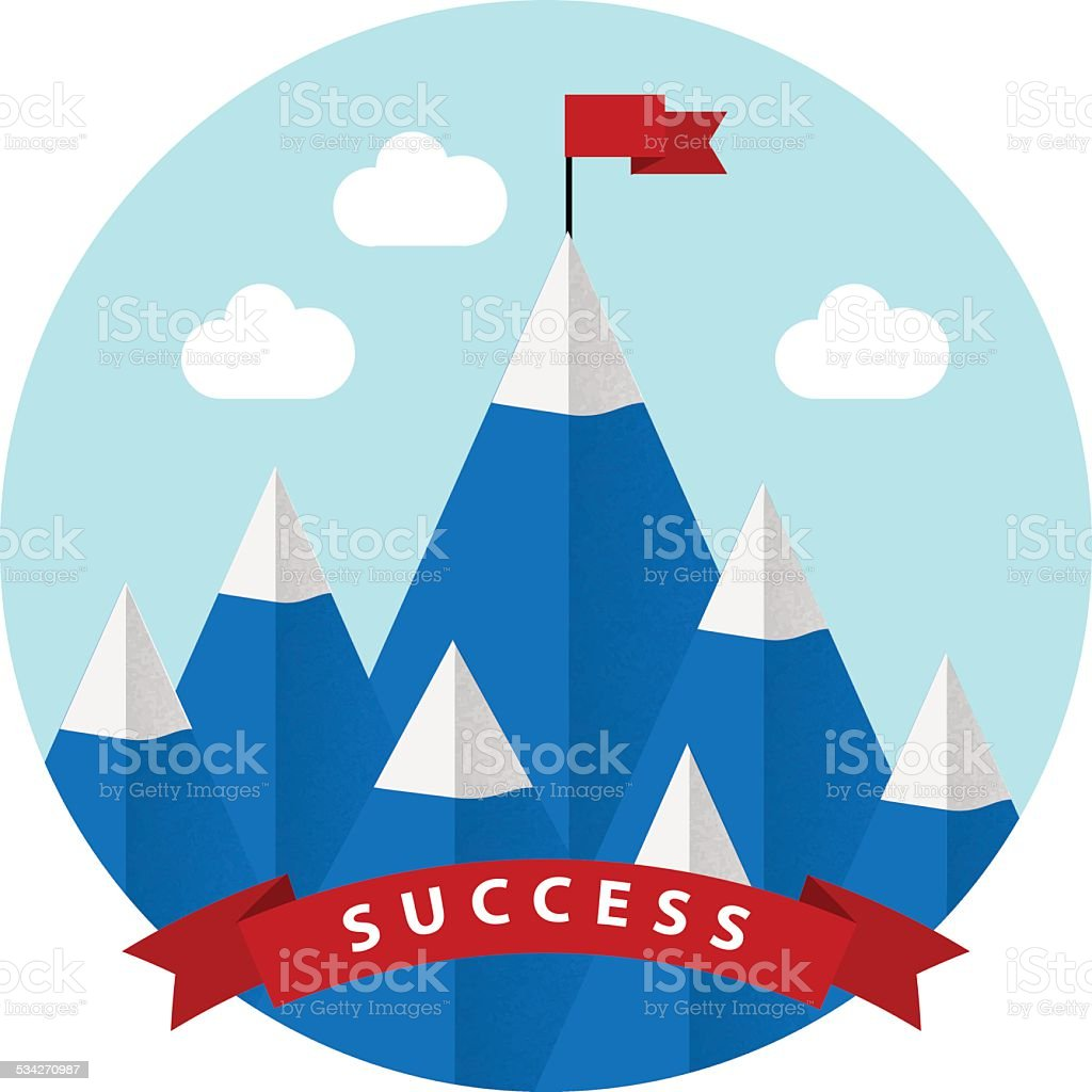 Flat design vector illustration of success vector art illustration
