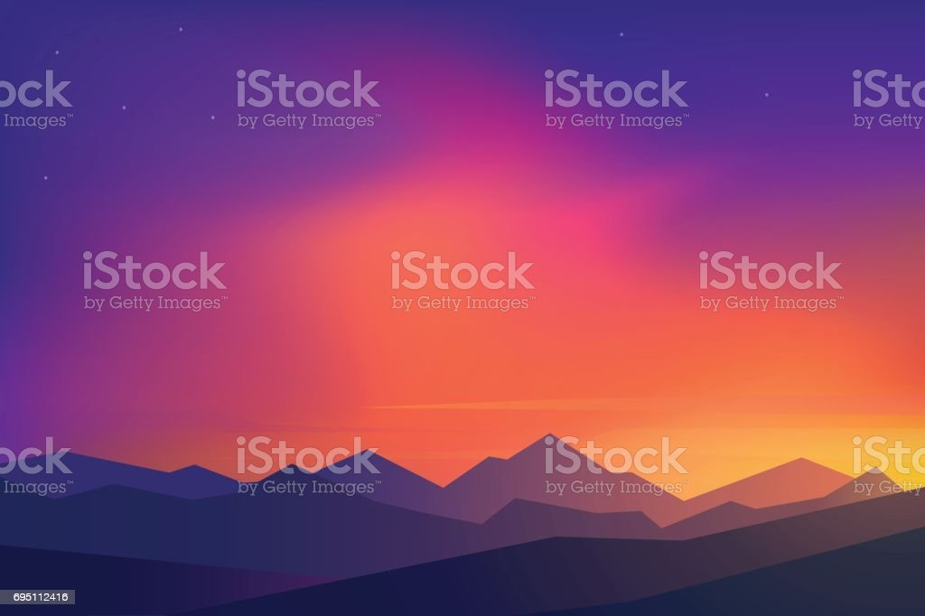 Flat design. Vector illustration - sunset vector art illustration