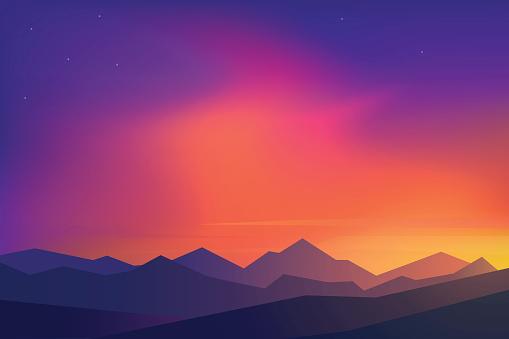 Flat Design Vector Illustration Sunset - Stockowe grafiki wektorowe i więcej obrazów Abstrakcja