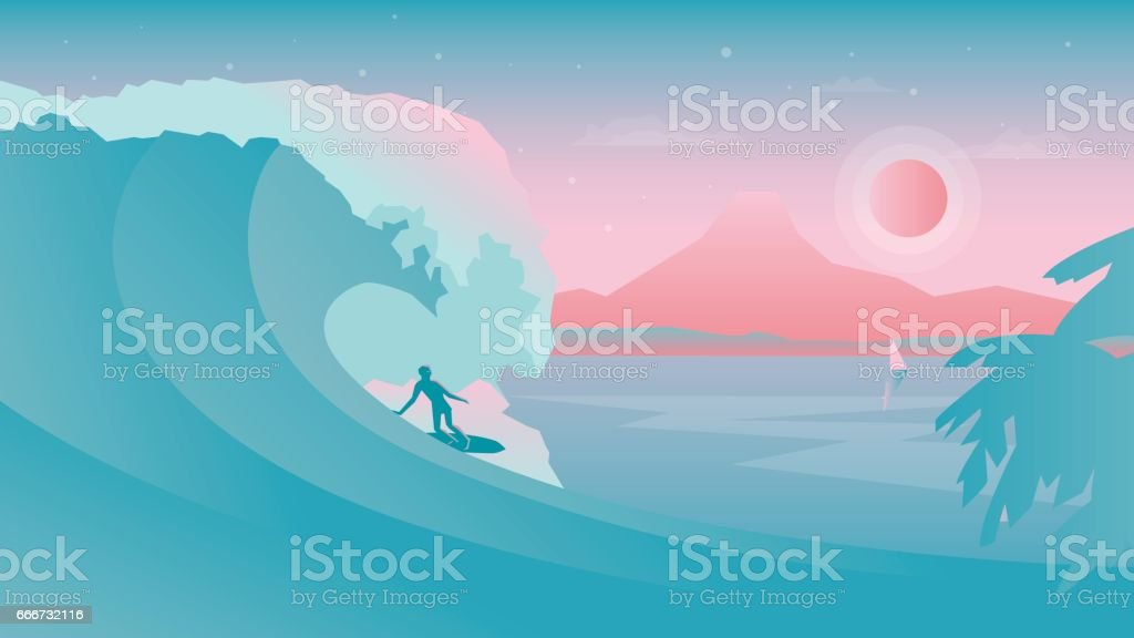 Flat design vector landscape with surfer on the surfboard silhouette under the wave vector art illustration