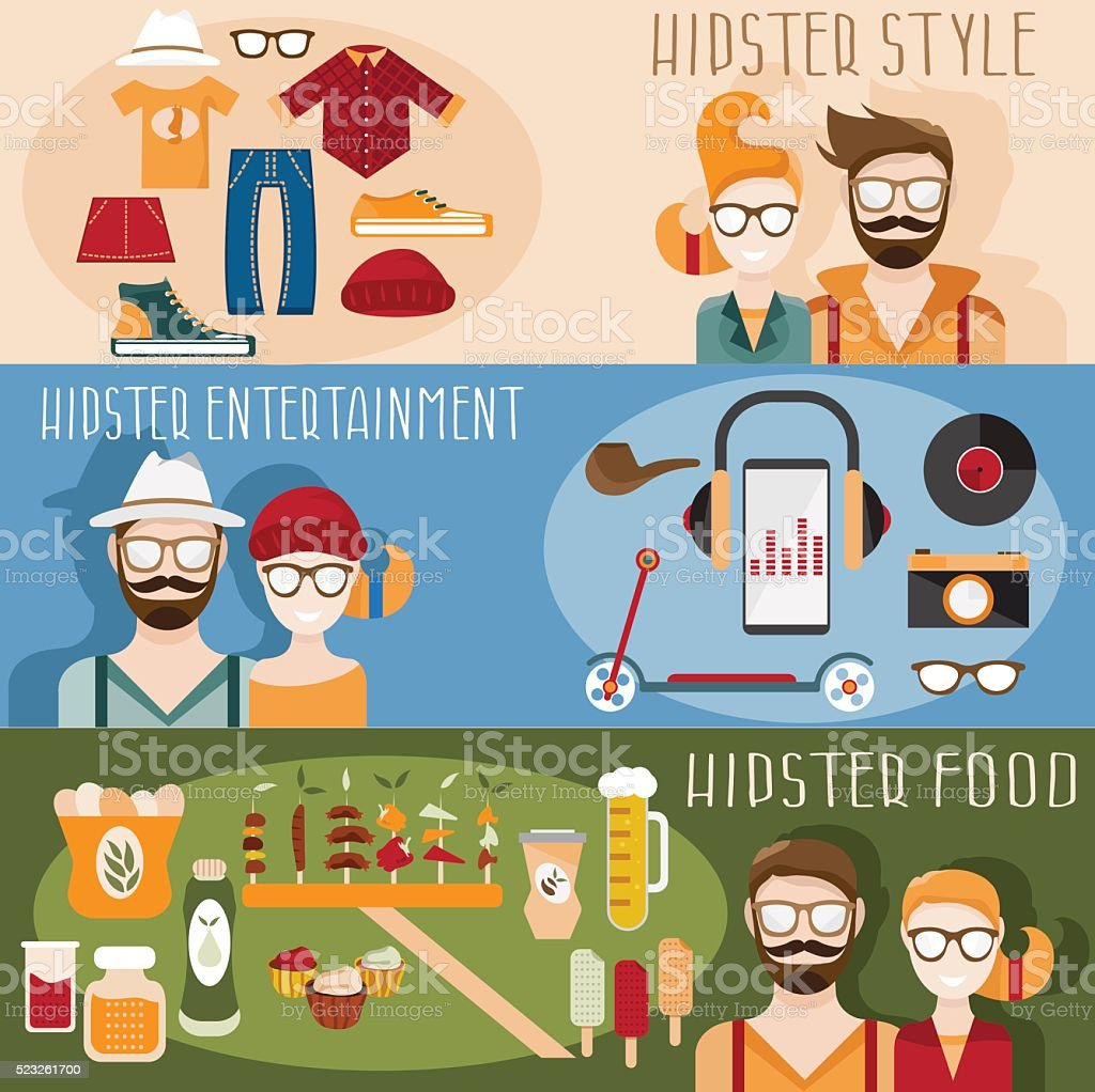 flat design vector mini banners with hipster theme stock vector art