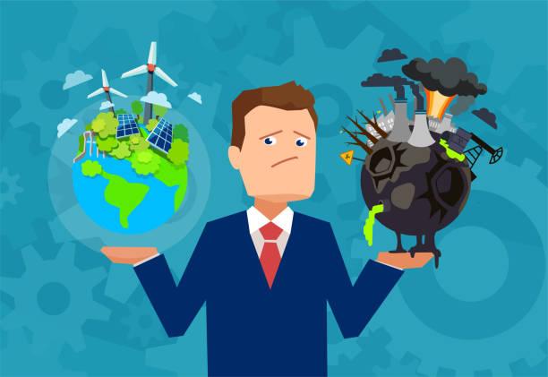bildbanksillustrationer, clip art samt tecknat material och ikoner med platt design vektor av en man som håller friska och välmående jorden jämfört med skadade planet att göra val. - climate