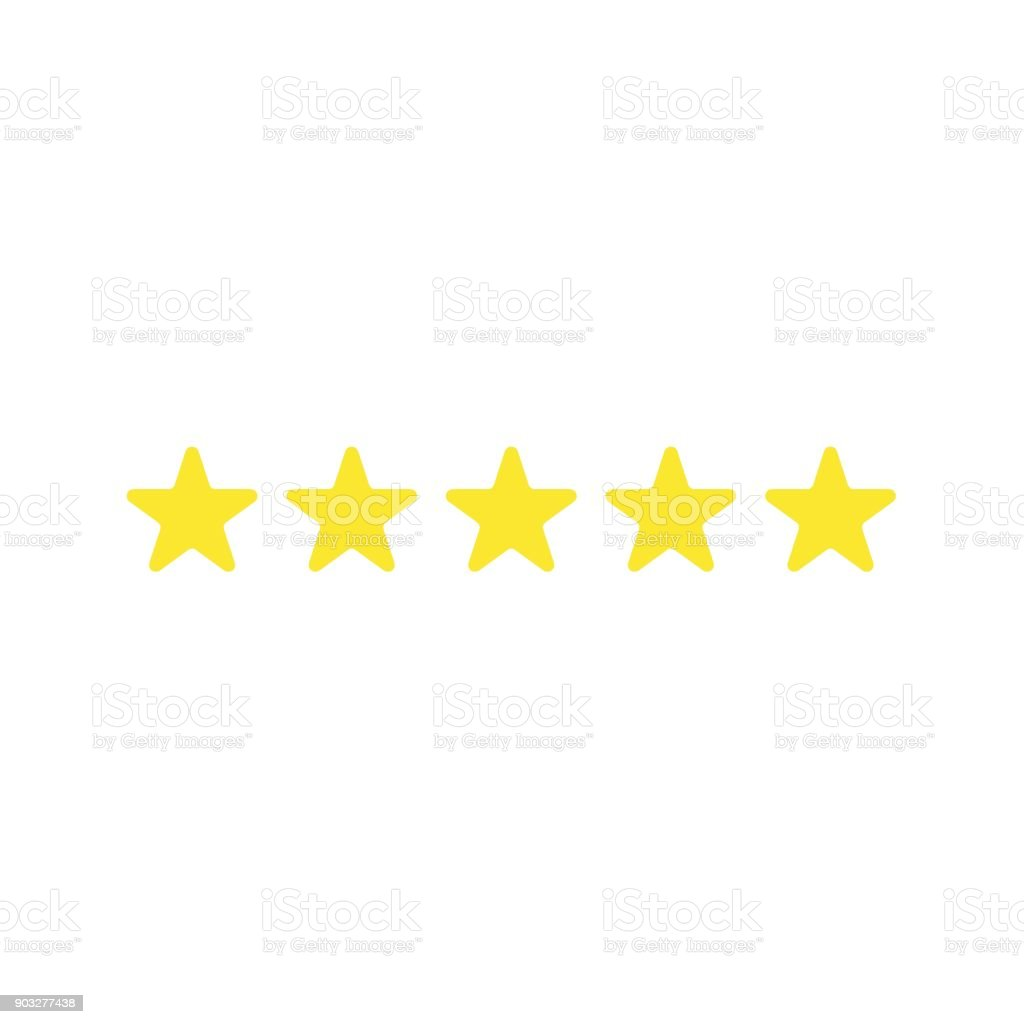Flat design vector of five stars vector art illustration