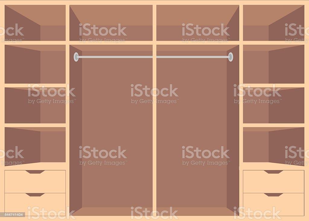 Flat Design walk in closet with shelves. vector art illustration