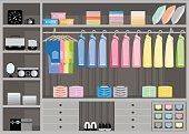 Flat Design walk in closet with shelves.