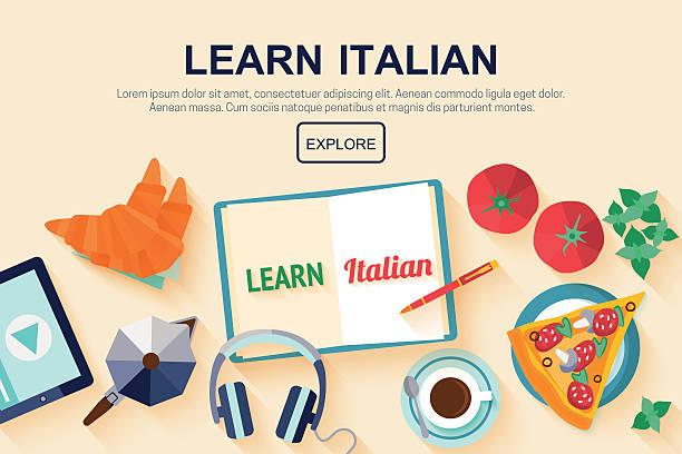 flache gestaltung web-banner mit italienischer sprache schule. - hochschulgetränke stock-grafiken, -clipart, -cartoons und -symbole