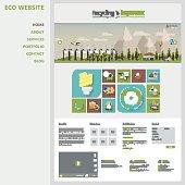 Flat Design Website Template Vector with landscape illustration