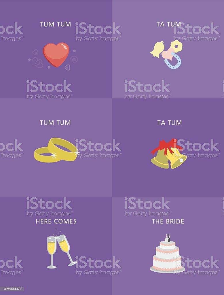 Design 2D dia de casamento ícones - ilustração de arte em vetor