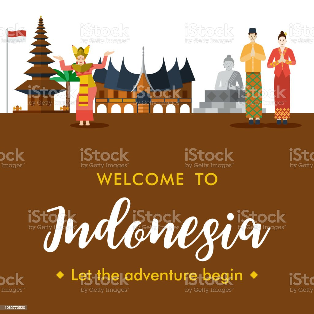 Flat design Welcome to Indonesia Banner,  Vector Illustration vector art illustration