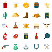 A set of 25 wild west flat design icons on a transparent background. File is built in the CMYK color space for optimal printing. Color swatches are Global for quick and easy color changes.