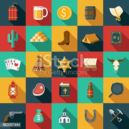 A set of flat design styled Wild West icons with a long side shadow. Color swatches are global so it's easy to edit and change the colors.