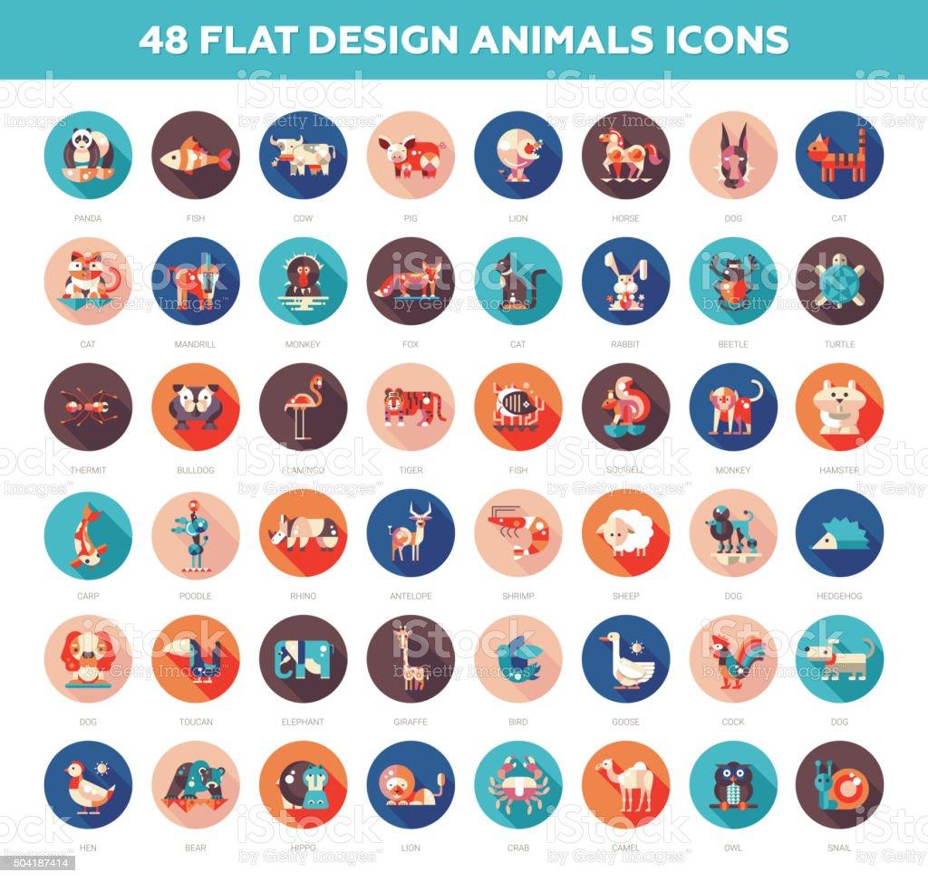 Flat design wild and domestic animals icons set