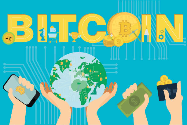 bildbanksillustrationer, clip art samt tecknat material och ikoner med platt design med mänskliga händer, smartphones och gyllene bitcoins och krypto valuta. - amfetamin